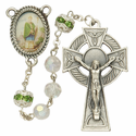 "7mm Crystal ""Our Father"" Beads and St. Patrick Photo Center Rosary"
