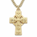 """14K Gold Over Sterling Silver Celtic Cross Necklace on 18"""" Chain"""