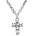 Sterling Silver Cross Necklace with Crystal CZ Stones
