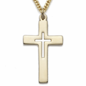 """14K Gold Filled Cross Necklace with a Pierced Inner Cross Design on 24"""" Chain"""