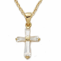 "14K Gold over Sterling Silver  Cross Necklace with Crystal Baguette Stones on 18"" Chain"