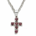 "Sterling Silver Cross Necklace with Amethyst Color Stones on 16"" Chain"