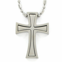 Stainless Steel Cross Necklace in a 2-Piece Flared Design
