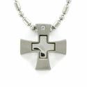 Stainless Steel Polished Cross Necklace with Inner Cross