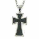 Stainless Steel Cross Necklace in a Black Maltese Design