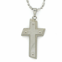 Stainless Steel Cross Necklace in a Angle Brushed Finish Design