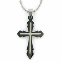 Stainless Steel Cross Necklace in Black Pointed and Inner Cross Design