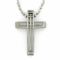 Stainless Steel Cross Necklace in a Polished Pierced Line Design