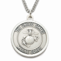 Women's's Nickel Silver Marines Medal, St. Michael on Back