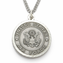 "Men's Nickel Silver Air Force Medal, St. Michael on Back on 24"" Chain"
