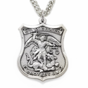 "Sterling Silver Engraved St. Michael Shield Medal, Patron Of Police Officers on 24"" Chain"