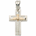 Sterling Silver Cross with 14K Gold Dove