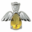 Sterling Silver November Topaz Birthstone Angel Wing Pin