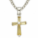 "Sterling Silver November Topaz Birthstone Baby Cross Necklace on 13"" Chain"