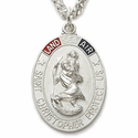 """Sterling Silver Tri-Color Oval St. Christopher Military Medal on 24"""" Chain"""