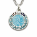 Sterling Silver  Tri-Color Enamled  St. Christopher Military Medal