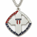 Sterling Silver Tri-Color Cross Military Medal