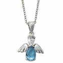 "Sterling Silver December Turqoise Birthstone Angel Wing Necklace on 18"" Chain"
