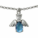 Sterling Silver December Turqoise Birthstone Angel Wing Bracelet