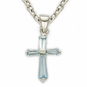 "Sterling Silver December Turqoise Birthstone Baby Cross Necklace on 13"" Chain"