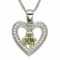 Sterling Silver Cyrstal Heart Necklace  with Gold and Emerald Three Leaf Clover