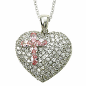 Sterling Silver Heart  Necklace set with CZ Stones and a Crystal Rose Cross