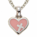Sterling Silver Pink Enameled Heart with Cross