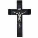 "13"" Stained Wood Wall Crucifix with Metal Corpus Sick Call Set"