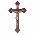 "8"" Stained Wood Wall Crucifix with Two-Tone Pewter Corpus"
