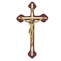 "8"" Wood Wall Crucifix  with Brass Antiqued Gold Metal Corpus"
