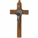 "8"" Wood Wall Crucifix with Fine Pewter Corpus, St. Benedict"