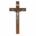 "8"" Walnut Wall Crucifix with Pewter Corpus"