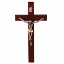 "8"" Walnut Wall Crucifix with Two-Tone Pewter Corpus"