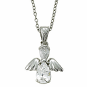 """Sterling Silver April White Crystal Birthstone Angel Wing Necklace on 18"""" Chain"""