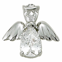 Sterling Silver April White Crystal Birthstone Angel Wing Pin