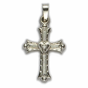 14K White Gold Cross Pendant in a Budded Design with a Centered Heart and Florentine Finish