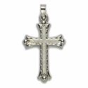 14K White Gold Cross Pendant in a Budded Ends Design with a Florentine Finish