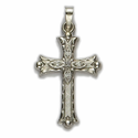 "1 & 1/4"" 14K White Gold Cross Pendant in a Flor De Lei Cross Design with a Florentine Finish"