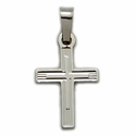 14K White Gold Cross Pendant in an  Inner Cross and Multi-Line Engraved Design