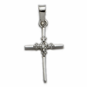 14K White Gold Cross Pendant  in a Genuine Diamond Stick Style Design