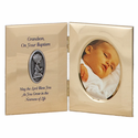 "8"" x 5"" Grandson Baptism Metal Photo Frame with Pewter Medallion"