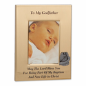 "6"" x 8"" Metal Godfather Photo Frame with Pewter Guardian Angel"