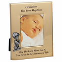 "6"" x 8"" Grandson Baptism Metal  Photo Frame"
