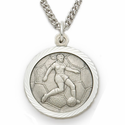 Girls Sports Sterling Silver Medals with St. Christohper on Back
