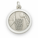 "Sterling Silver Boy's Basketball Medal with Cross on Back on 20"" Chain"