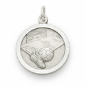 "Sterling Silver Boy's Soccer Medal with Cross on Back on 20"" Chain"