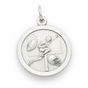 "Sterling Silver Boy's Football Player Medal with Cross on Back 20"" Chain"