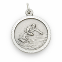 "Sterling Silver Boy's Snowboarding Medal with Cross on Back on 20"" Chain"