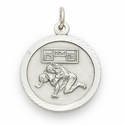 "Sterling Silver Boy's Wrestling Medal with Cross on Back on a 20"" Chain"