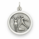 """Sterling Silver Girl's Cheerleading Medal with Cross on Back on 18"""" Chain"""